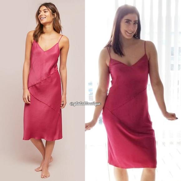 Anthropologie Dresses & Skirts - NWT ANTHROPOLOGIE Rosalina Raspberry Slip Dress